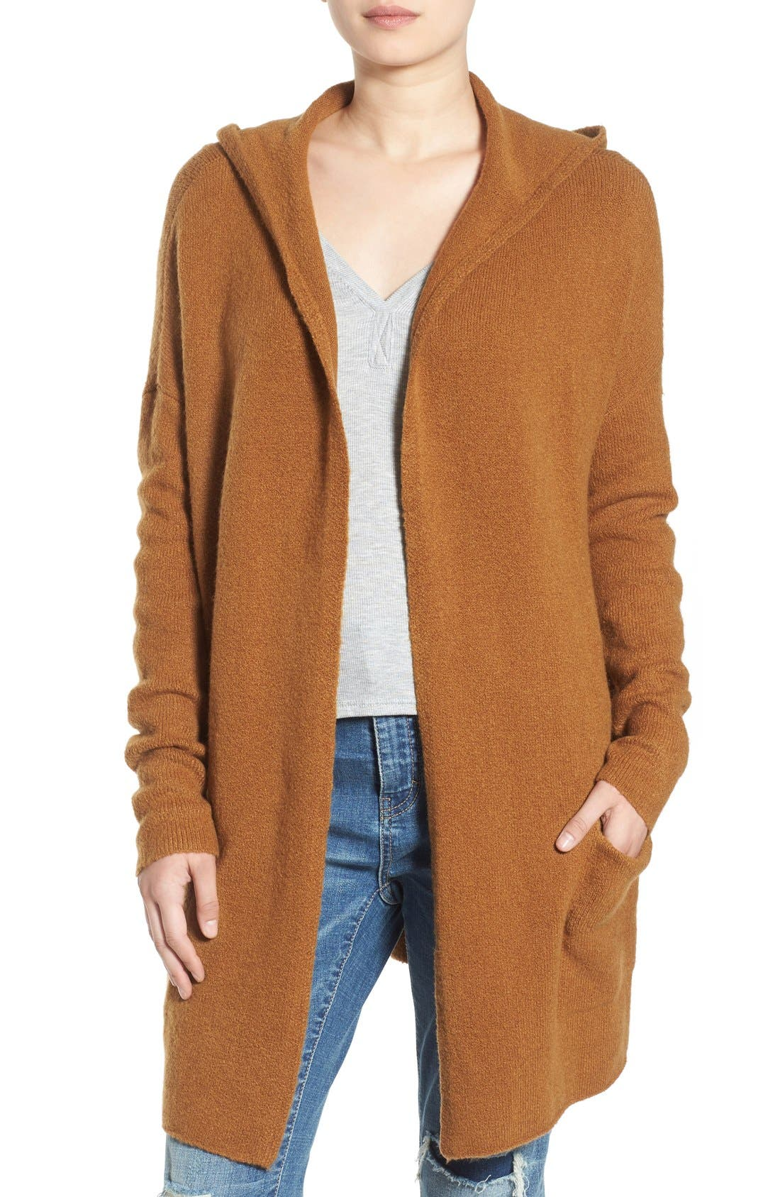 ,                             Hooded Longline Cardigan,                             Main thumbnail 6, color,                             236