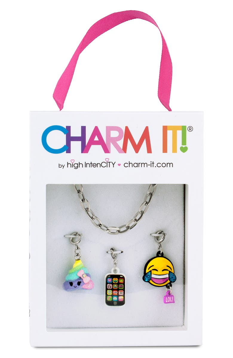 CHARM IT!<SUP>®</SUP> Emoji Charm Bracelet Gift Set, Main, color, SILVER
