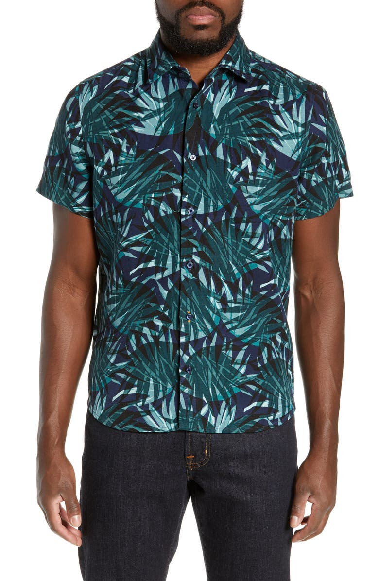 BOSS Rash Regular Fit Short Sleeve Shirt, Main, color, 345