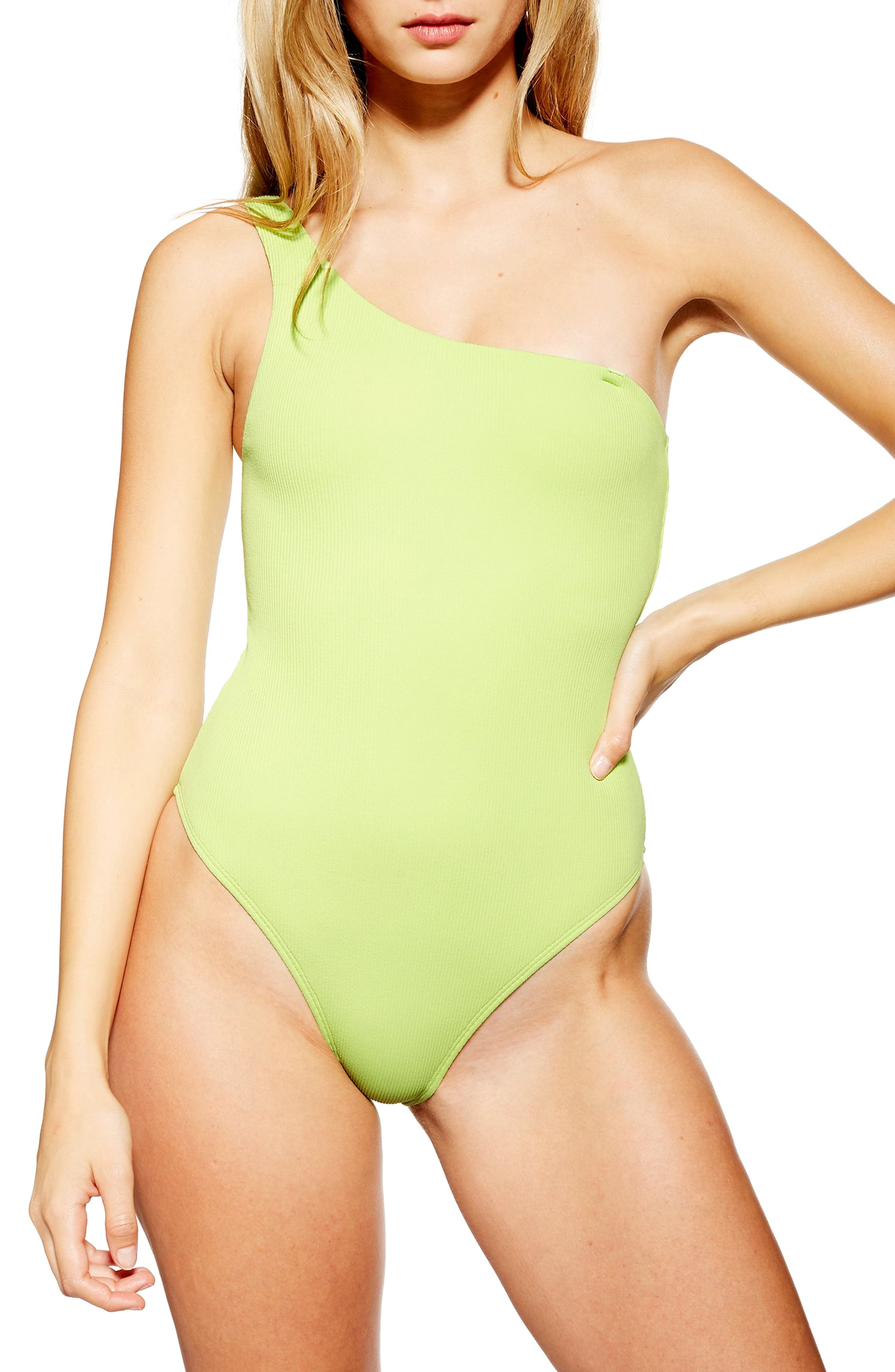 Topshop Ribbed One-Shoulder One-Piece Swimsuit, US (fits like 10-12) - Green
