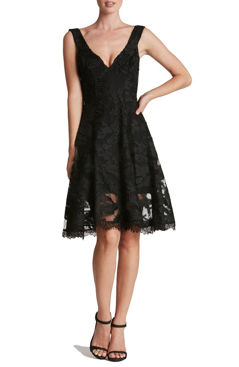 DRESS THE POPULATION Maya Woven Fit & Flare Dress, Main, color, 001