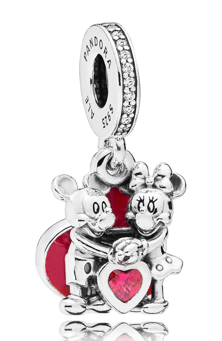 PANDORA Disney Minnie & Mickey Love Dangle Charm, Main, color, RED/ SILVER