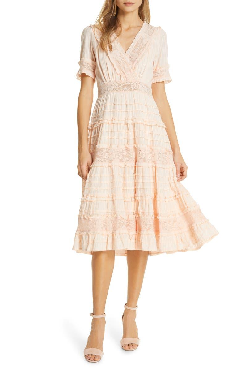 LOVE SAM Babette Ruffle Lace Midi Dress, Main, color, 800