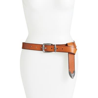 Frye Flat Panel Leather Belt, Tan