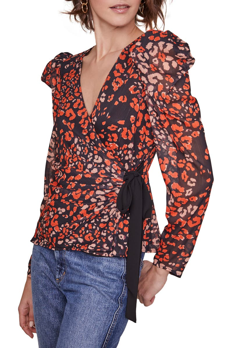ASTR THE LABEL Lissa Print Puff Sleeve Wrap Blouse, Main, color, RED GOLD LEOPARD