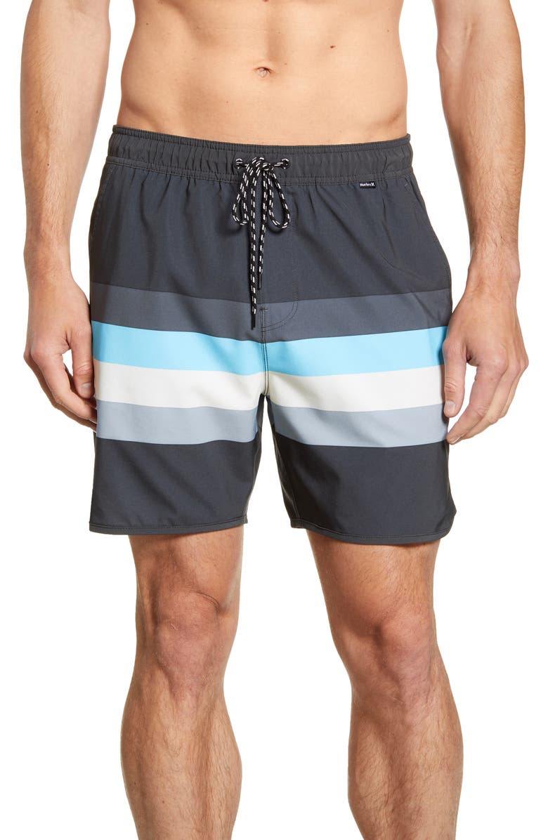 HURLEY Phantom River Volley Stripe Swim Trunks, Main, color, 001
