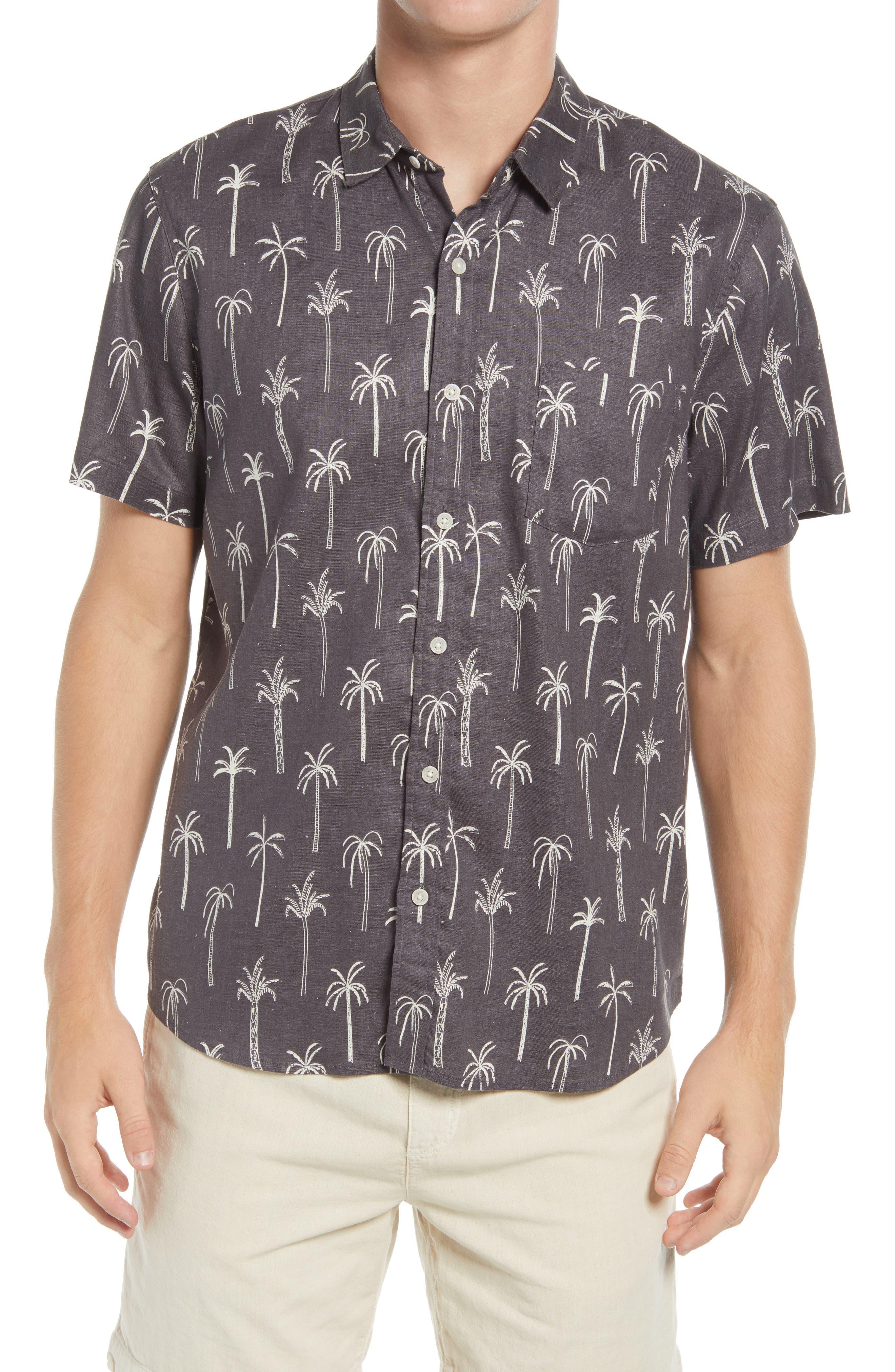 Palm Tree Short Sleeve Button-Up Hemp Blend Shirt