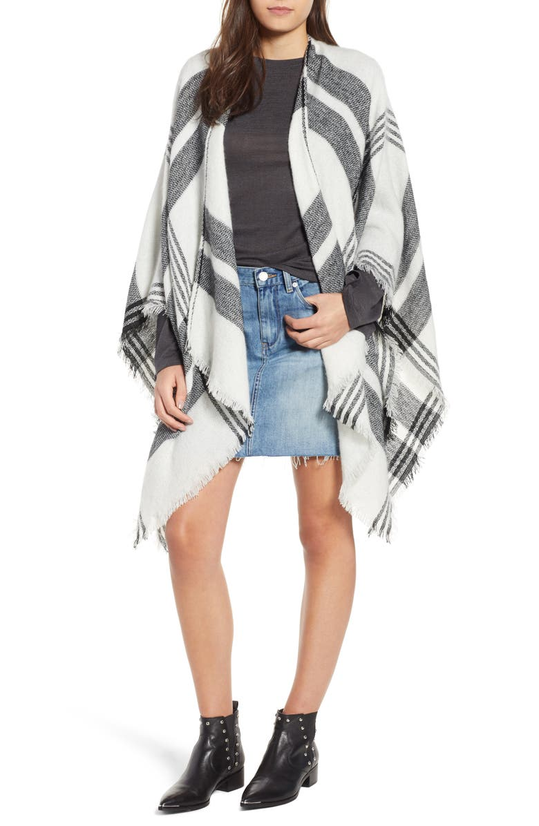 BP. Plaid Poncho, Main, color, 001