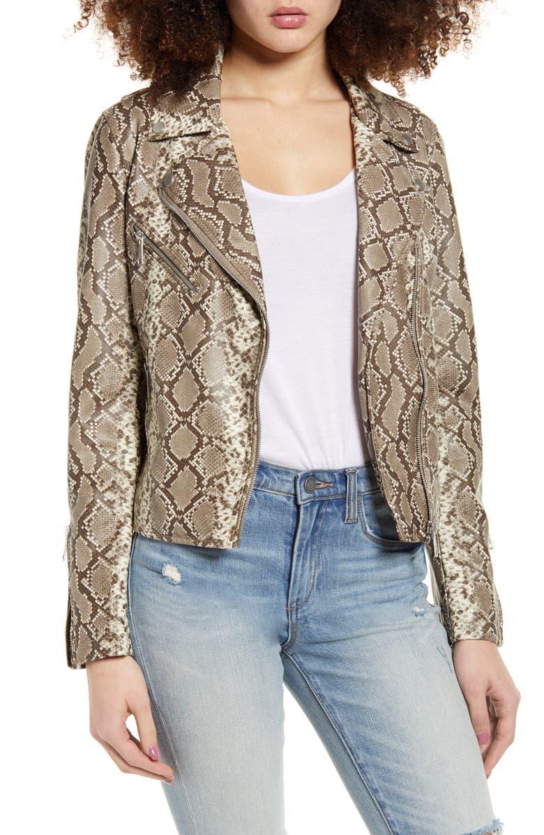 VIGOSS Snake Print Faux Leather Moto Jacket, Main, color, TAUPE