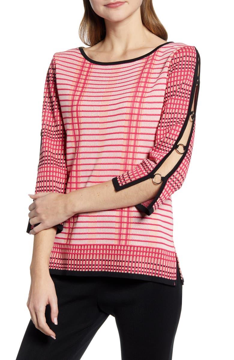 MING WANG Split Sleeve Tunic Sweater, Main, color, 652