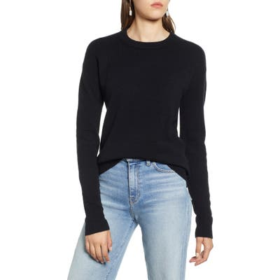 Halogen Crewneck Wool Blend Sweater, Black