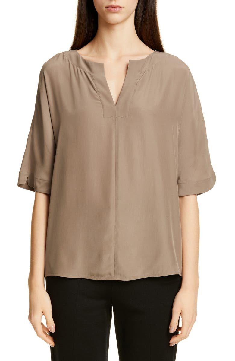 ST. JOHN COLLECTION Dolman Sleeve Woven Top, Main, color, TOFFEE