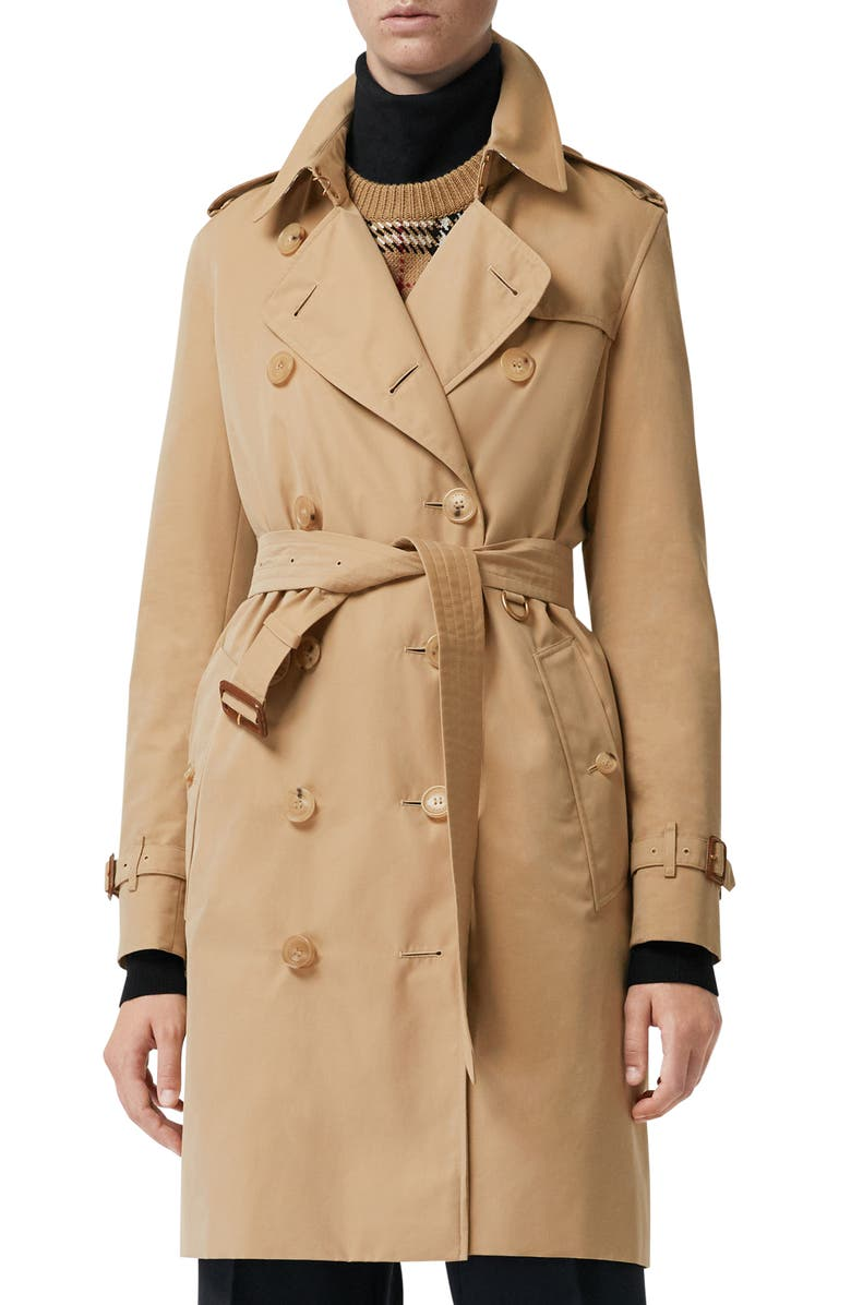 BURBERRY The Kensington Heritage Trench Coat, Main, color, HONEY