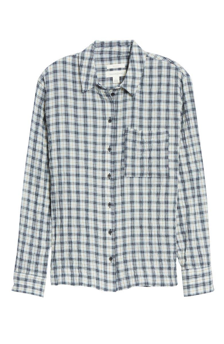 TREASURE & BOND Breezy Boyfriend Shirt, Main, color, IVORY CUSTARD NAVY PLAID