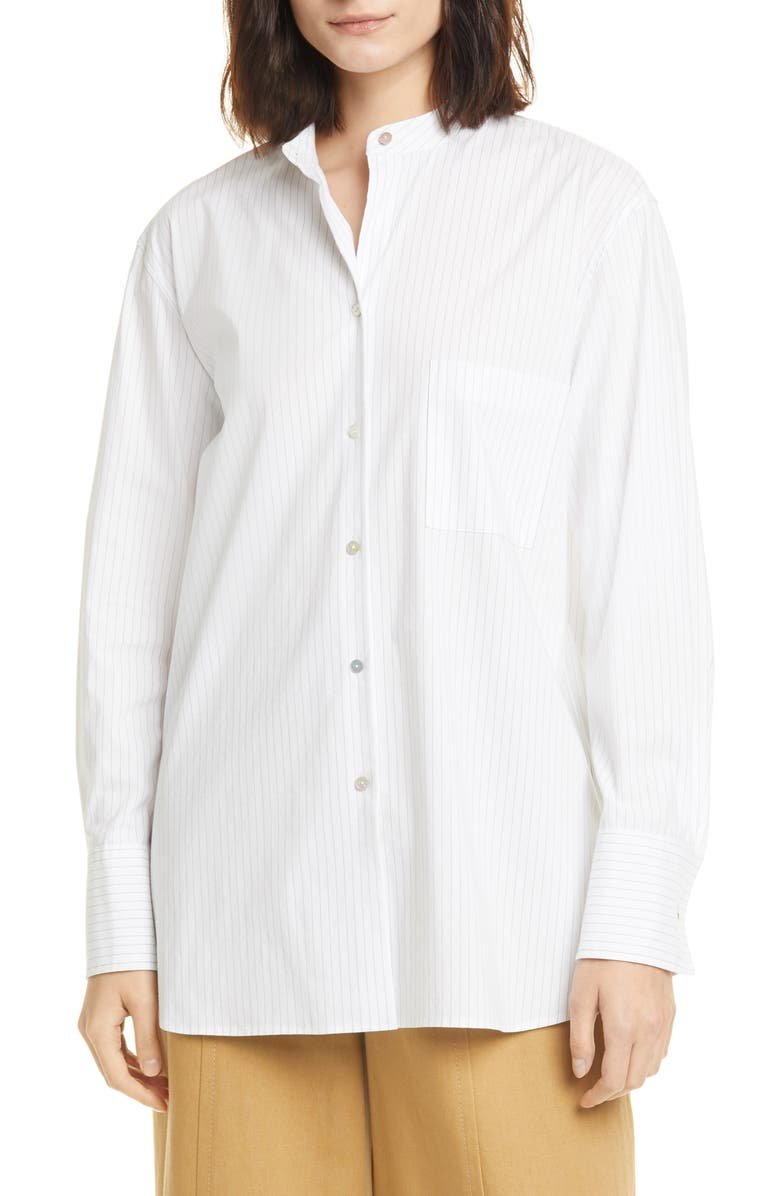 VINCE Classic Stripe Band Collar Cotton Blend Shirt, Main, color, WHITE/ BLACK