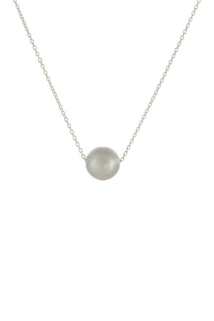 Image of Splendid Pearls Sterling Silver 10-11mm Gray Freshwater Pearl Slider Pendant Necklace