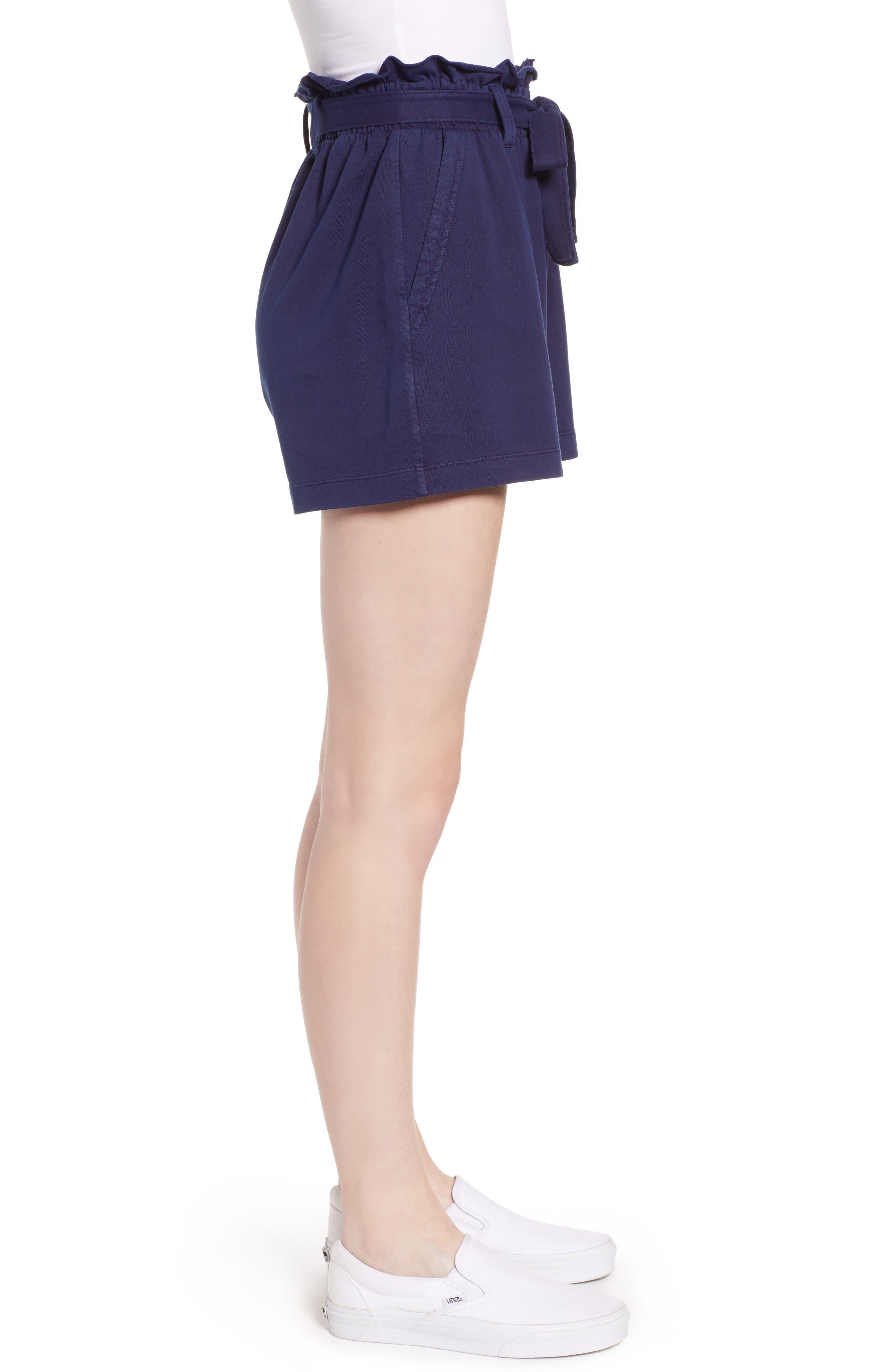 ,                             Paperbag High Waist Shorts,                             Alternate thumbnail 4, color,                             NAVY EVENING