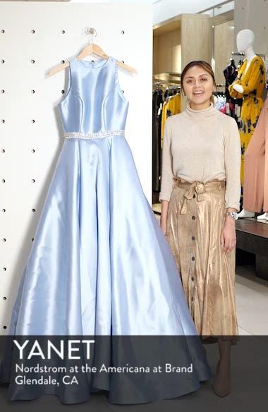 Jeweled Waist Satin Twill Evening Dress, sales video thumbnail