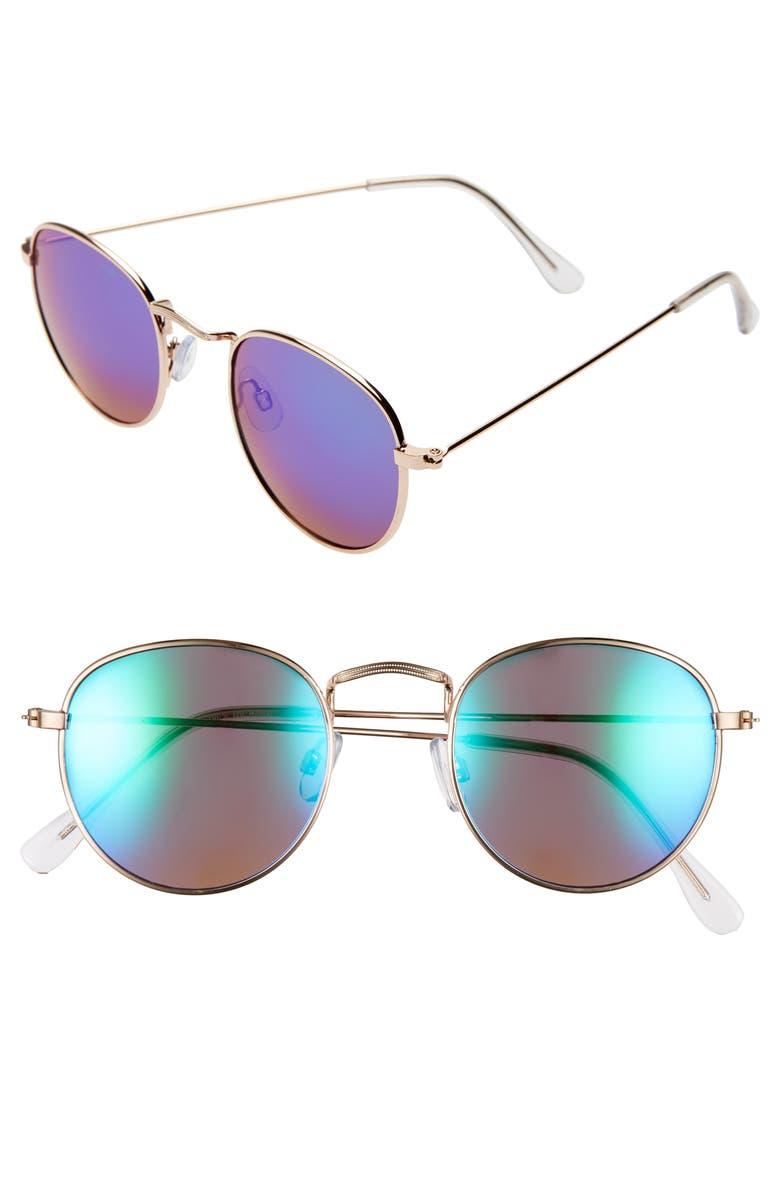 BP. 48mm Round Metal Sunglasses, Main, color, GOLD/ GREEN/ MIRROR