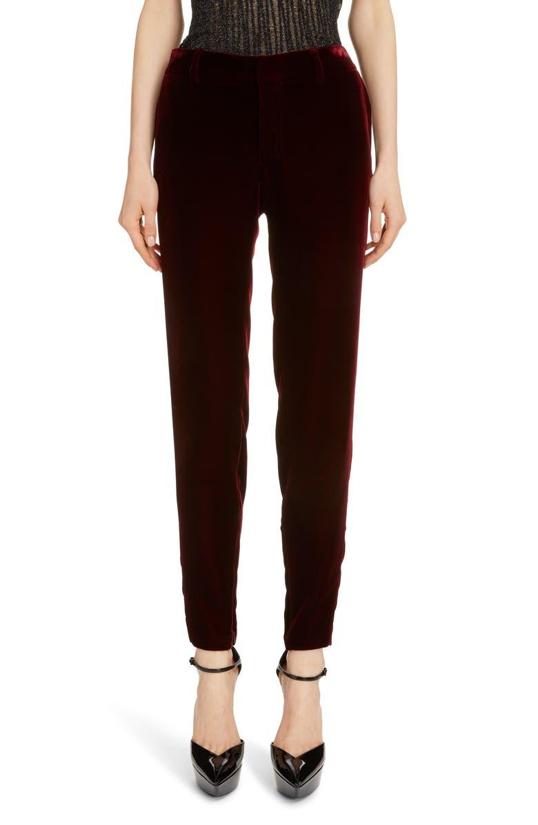 SAINT LAURENT Slim Velvet Pants, Main, color, BORDEAUX