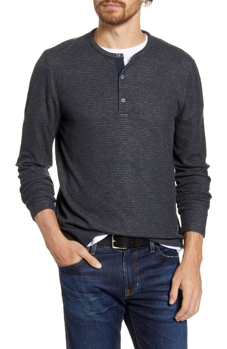 1901 Stripe Long Sleeve Henley, Main, color, GREY SHADOW WHITE TEXTURE