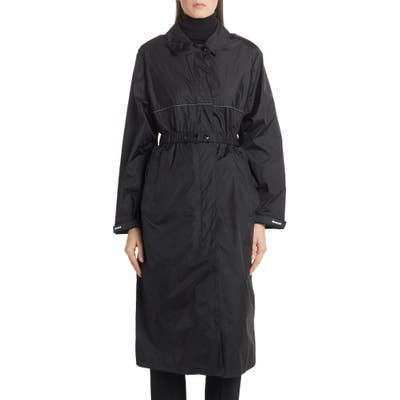 Moncler Charente Long Logo Raincoat, (fits like 2-4 US) - Black