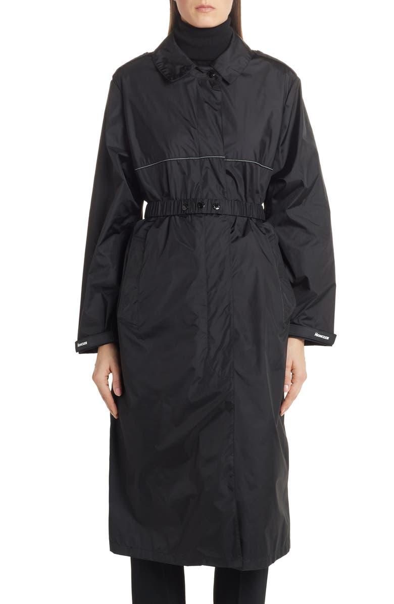 MONCLER Charente Long Logo Raincoat, Main, color, BLACK