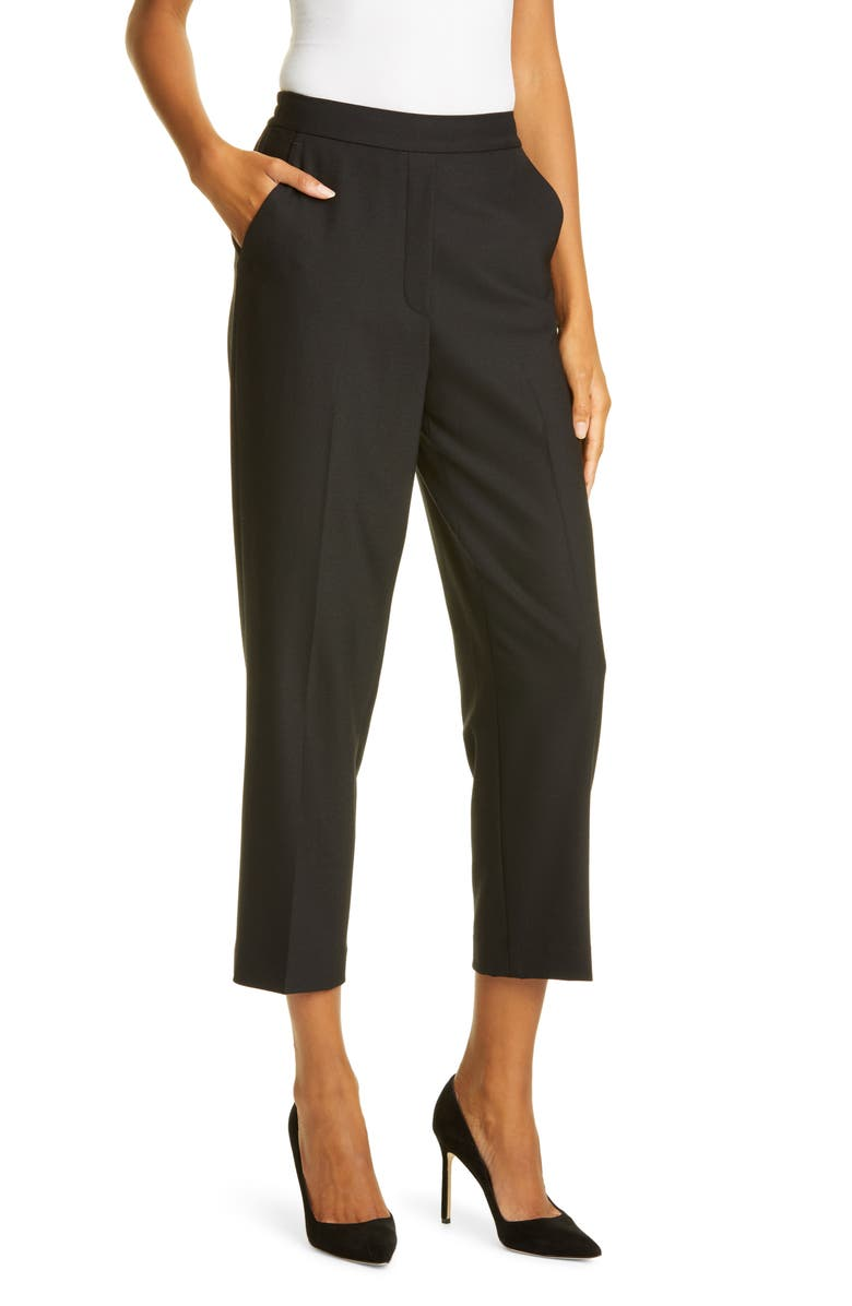 TAILORED BY REBECCA TAYLOR Gabardine Slim Ankle Pants, Main, color, BLACK