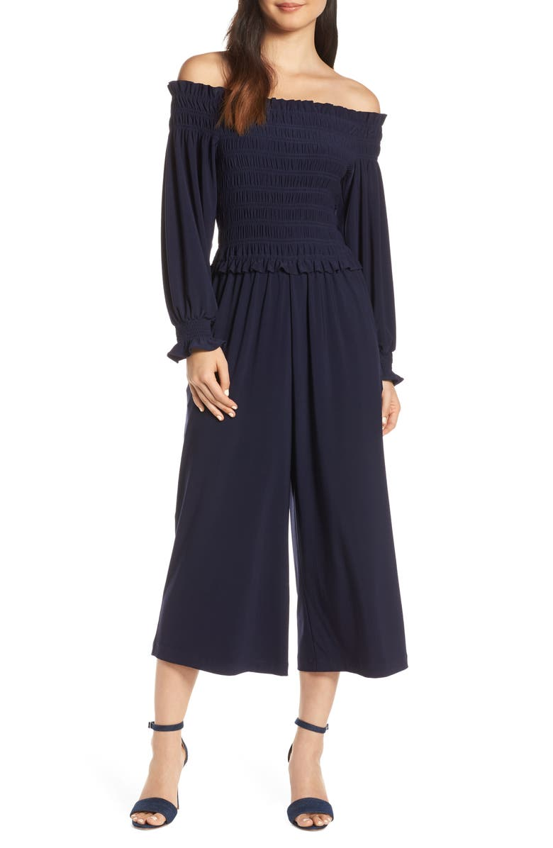 CHELSEA28 Long Sleeve Off the Shoulder Smocked Jumpsuit, Main, color, 410