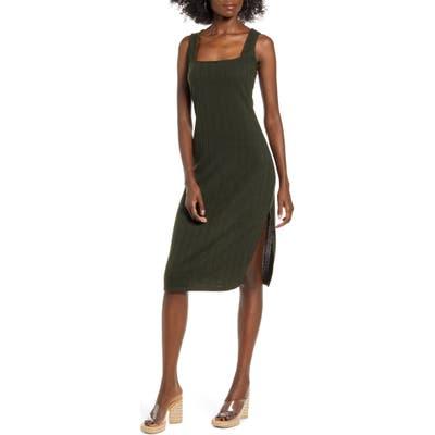Row A Rib Midi Dress, Green