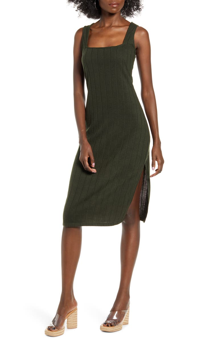 ROW A Rib Midi Dress, Main, color, OLIVE