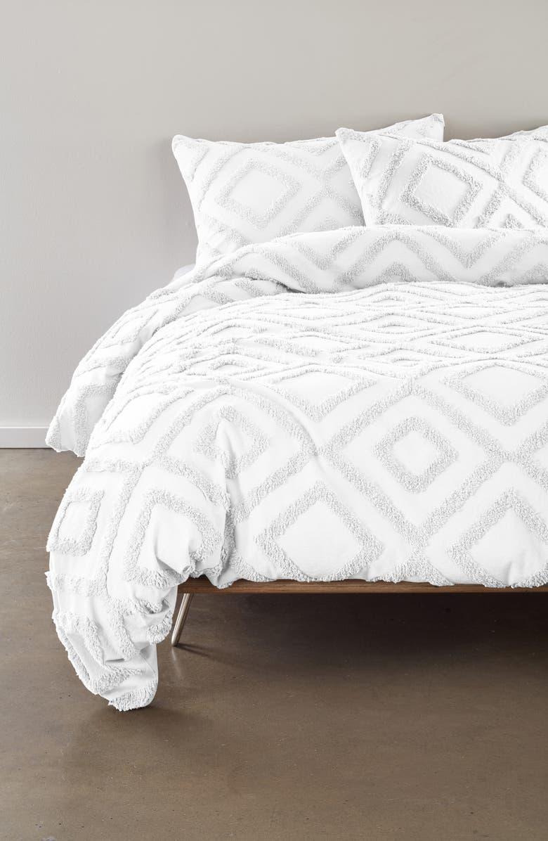 BP. Tufted Lattice Duvet Cover & Sham Set, Main, color, WHITE