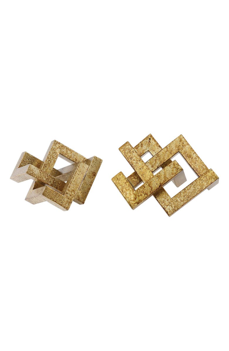 UTTERMOST Ayan Set of 2 Geometric Decorations, Main, color, ANTIQUE GOLD
