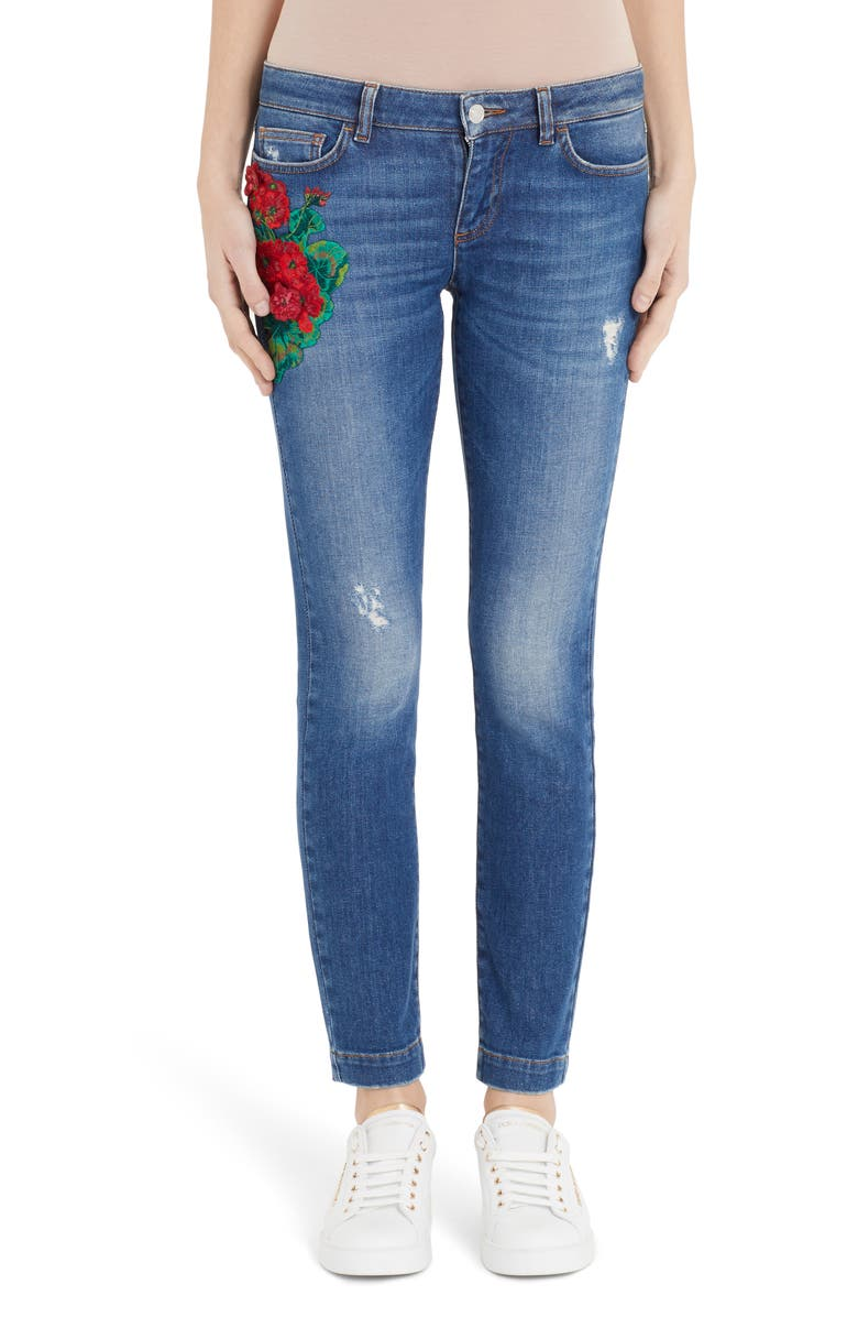 DOLCE&GABBANA Geranium Patch Skinny Jeans, Main, color, 410