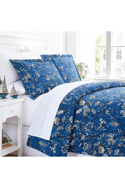 Image of SOUTHSHORE FINE LINENS Blooming Blossoms Duvet Cover Set - Blue - Full/Queen