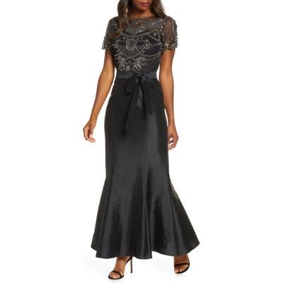 Pisarro Nights Beaded Bodice Taffeta Mermaid Gown, Black