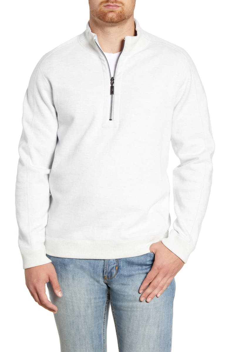 TOMMY BAHAMA Flipsider Reversible Quarter-Zip Pullover, Main, color, CONTINENTAL HEATHER