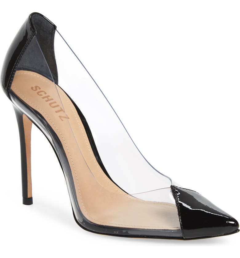 SCHUTZ Cendi Transparent Pump, Main, color, BLACK PATENT LEATHER