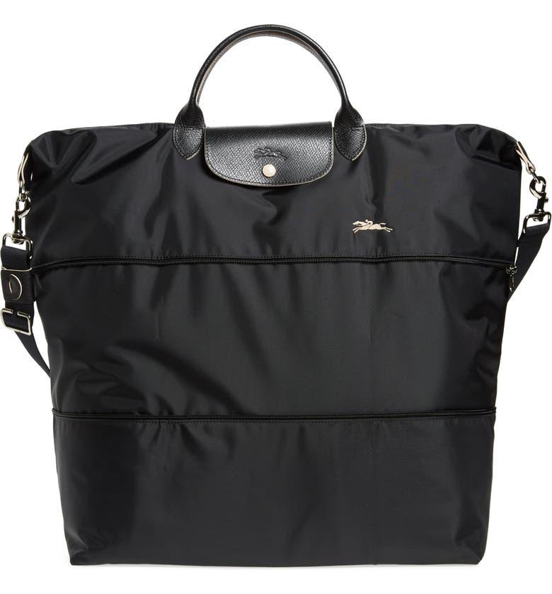 LONGCHAMP Le Pliage 21-Inch Expandable Nylon Travel Bag, Main, color, BLACK