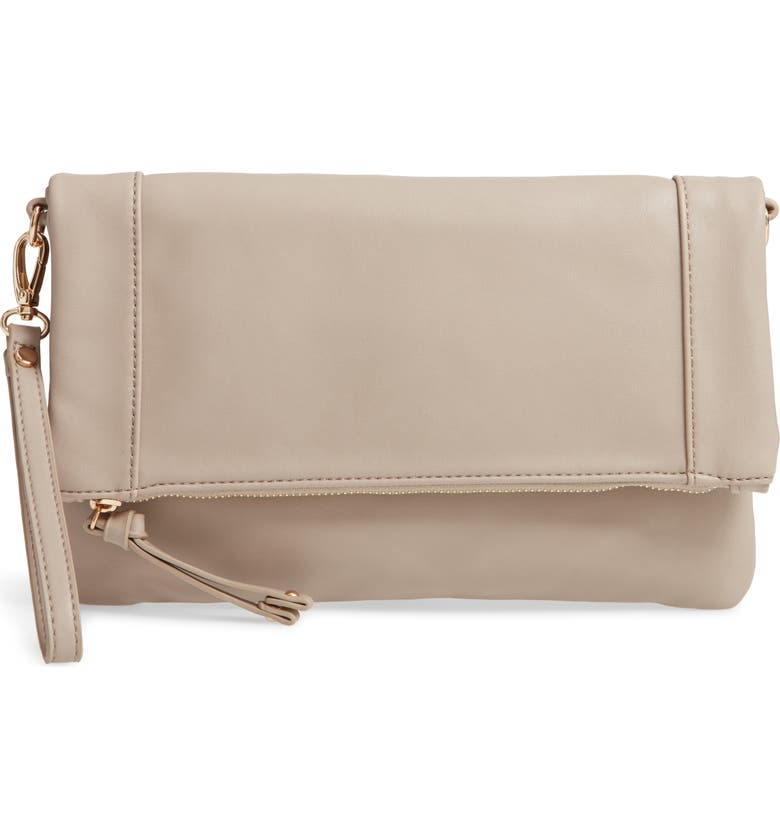 SOLE SOCIETY Marlena Faux Leather Clutch.Crossbody Bag, Main, color, 020
