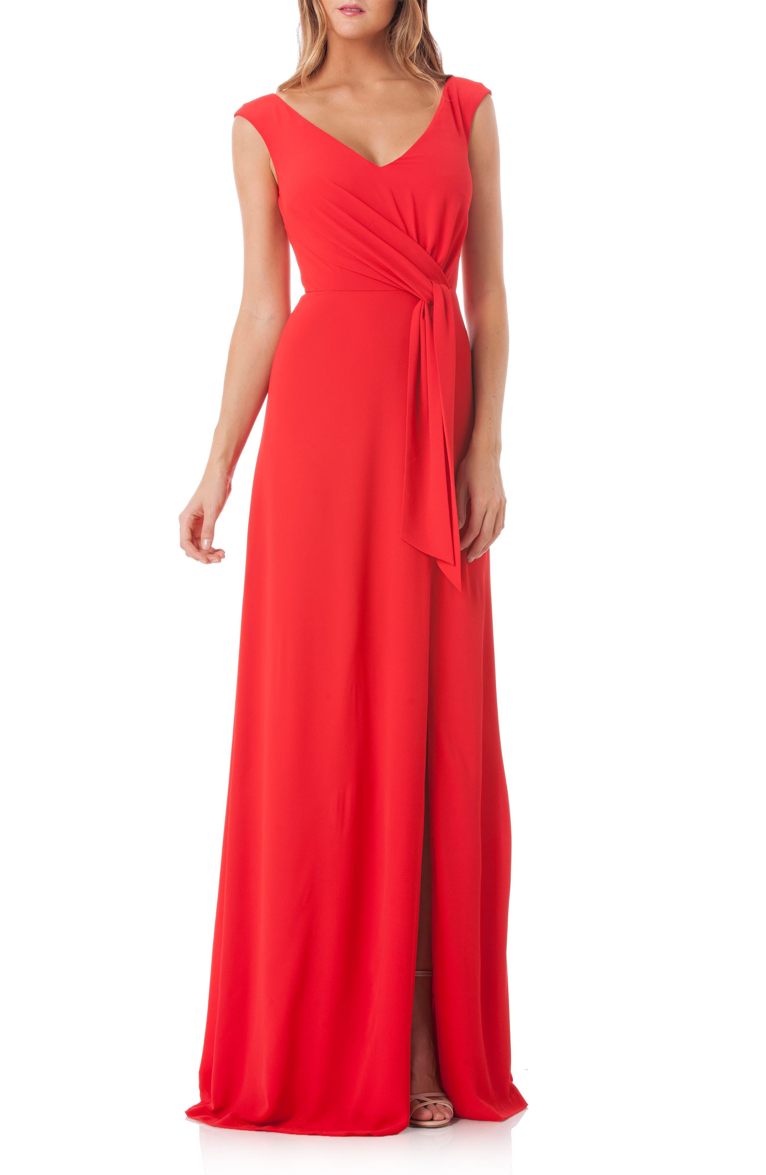 Kay Unger Tie Waist Gown, Red