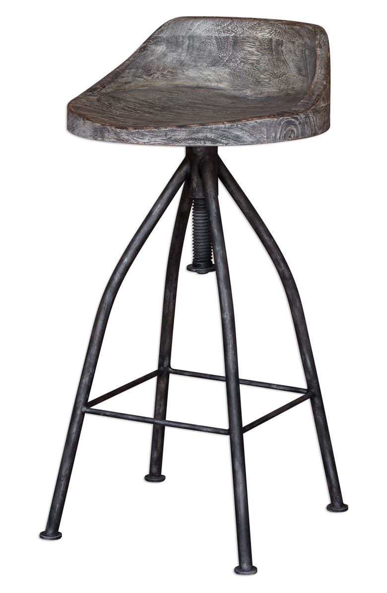 UTTERMOST 'Kairu' Wooden Bar Stool, Main, color, GREY