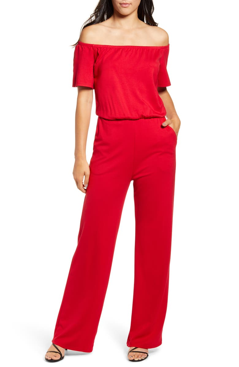 GIBSON x Living in Yellow City Safari Off the Shoulder Ponte Knit Jumpsuit, Main, color, 600