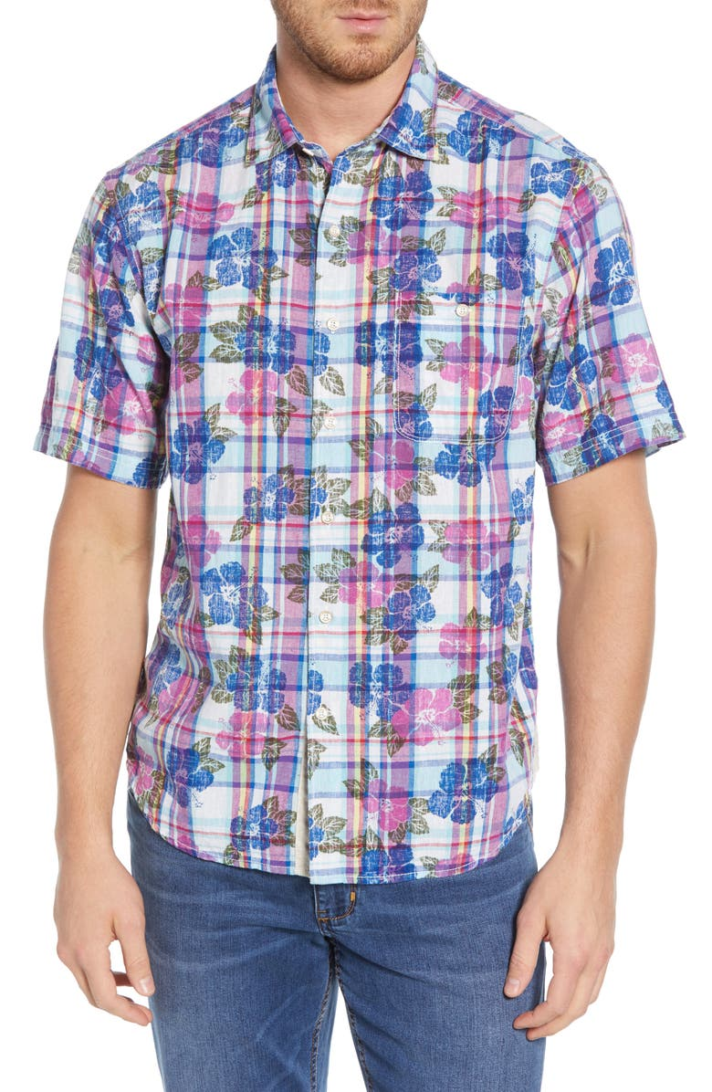 TOMMY BAHAMA Pastino Plaid Shirt, Main, color, ISLAND SUNSET
