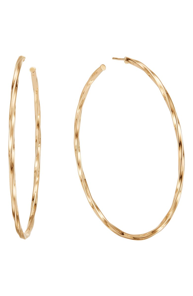 LANA JEWELRY Thin Wave Twist Royale Large Hoop Earrings, Main, color, YELLOW GOLD
