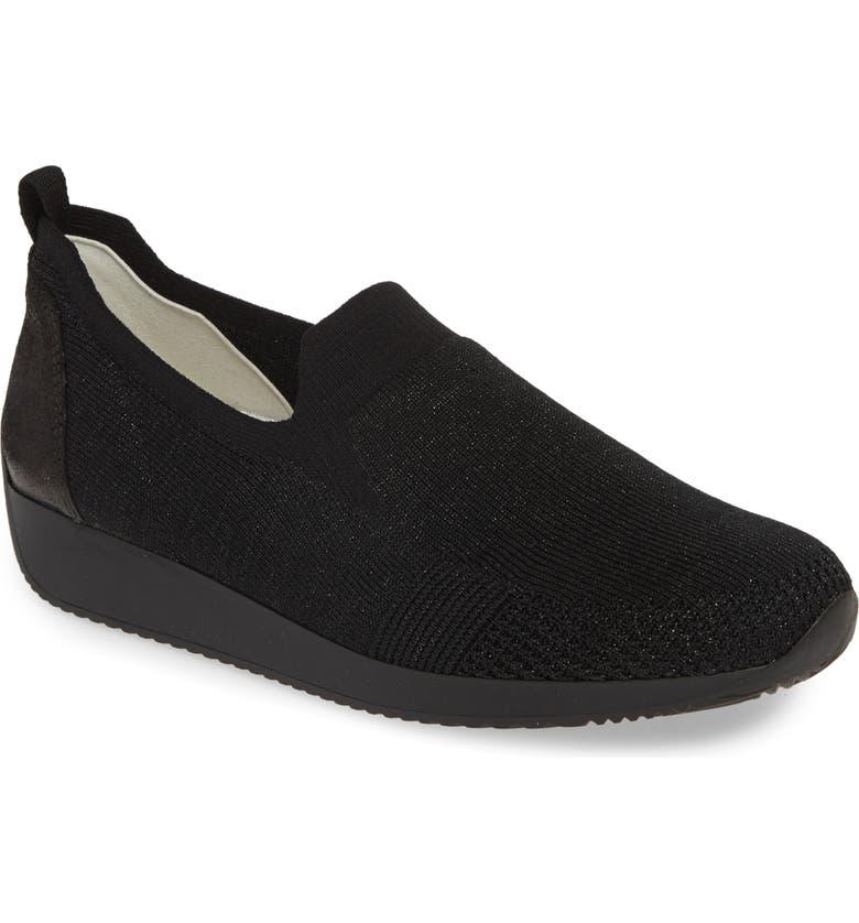 ARA Leena Sneaker, Main, color, BLACK WOVEN FABRIC