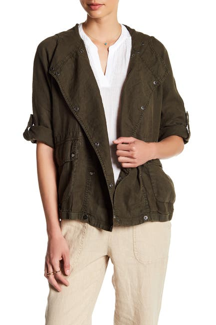 Image of Three Dots Darla Hooded Linen Jacket