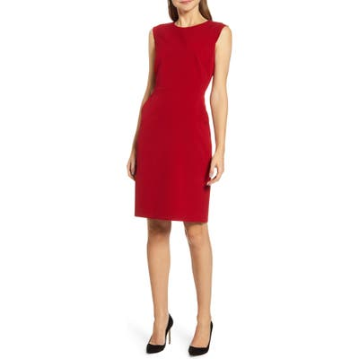 Anne Klein Sabre Stretch Cap Sleeve Sheath Dress, Red