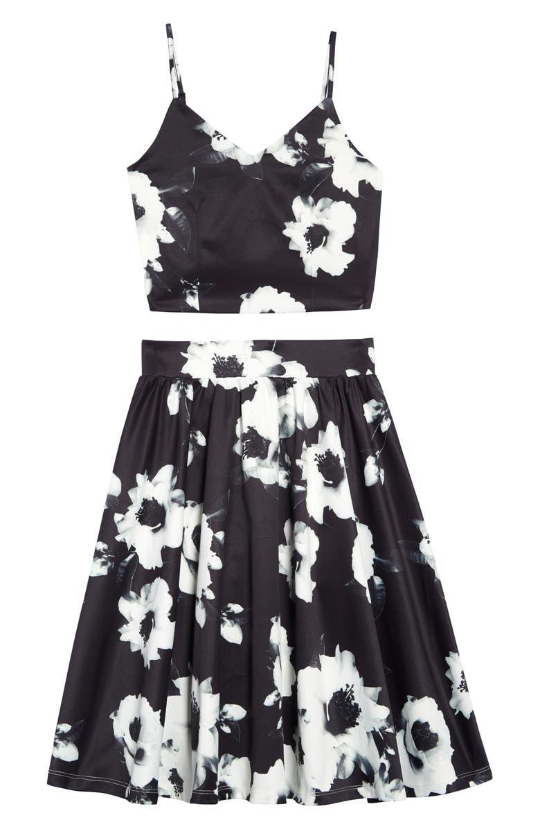 MISS BEHAVE Floral Print Top & Skirt Set, Main, color, 001