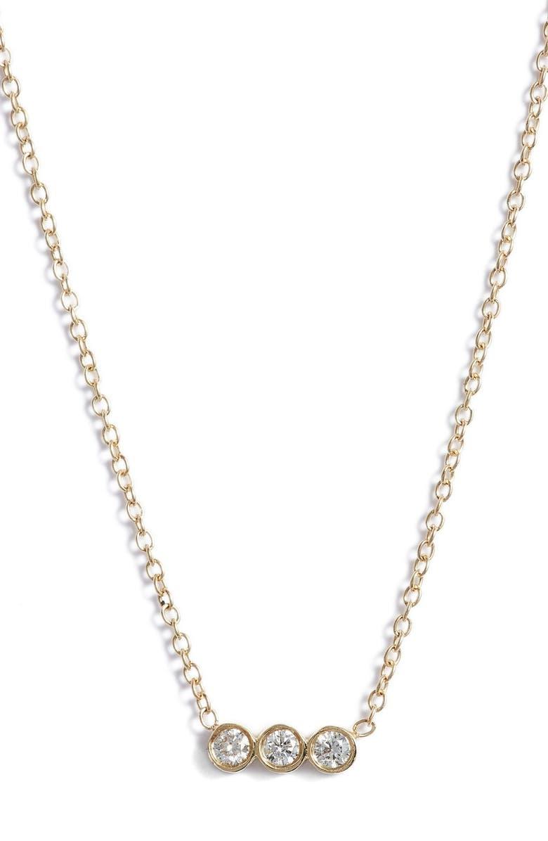 ZOË CHICCO Diamond Bezel Pendant Necklace, Main, color, YELLOW GOLD